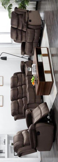 🔥Brownie Cocoa Short Plush Reclining Sofa & Loveseat & Recliner 🔥Global for Sale in Brooklyn Park, MD