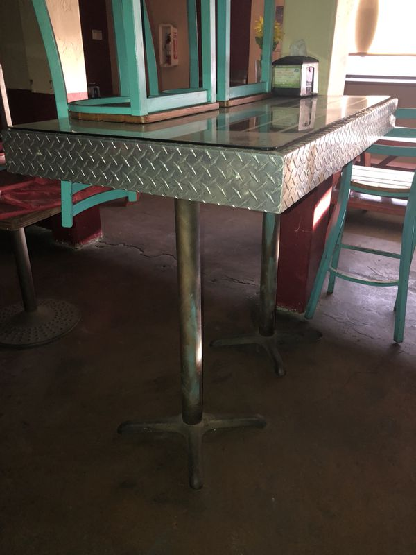 Tables-High Top-Glass-Metal-Solid