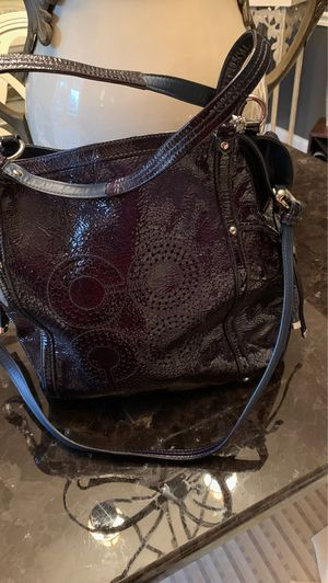 coach large navy patent leather Coach with pouch on back place for phone, comes with coach dust bag for Sale in New Albany, OH