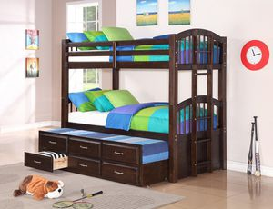 espresso bunk bed with trumbdle and storage ( new) for Sale in Hayward, CA