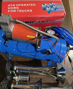 Kacsoo 150DB 4 Trumpet Automatic Train Air Horn Kit, with 120 PSI Air Compressor for Sale in Whittier,  CA