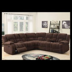 Jadey Chocalate Reclining Sectional Fabric 🔴🔴Tax Season Specials🔴🔴 for Sale in Houston,  TX
