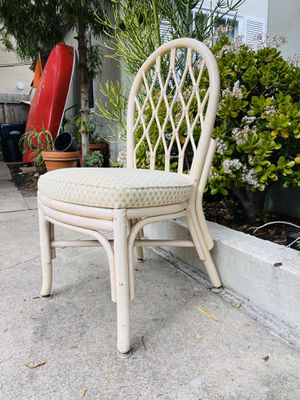 Boho Vintage Rattan Wicker Bamboo Accent Desk Dining Kitchen Patio Chair for Sale in San Diego, CA