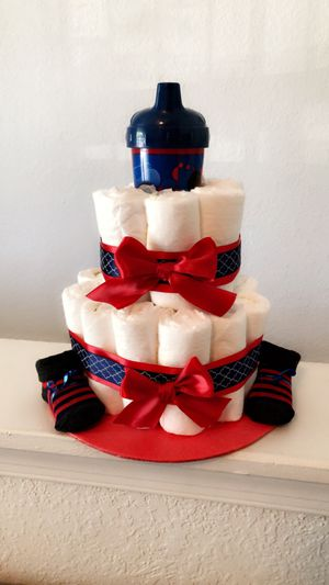 Baby Boy Diaper Cake with Mickey Mouse Accessory for Sale in Virginia Beach, VA