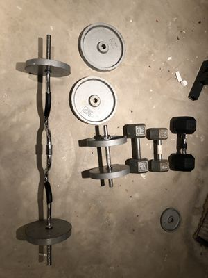 Dumbbells, plates and curl bar. will sell separately also for Sale in Minooka, IL