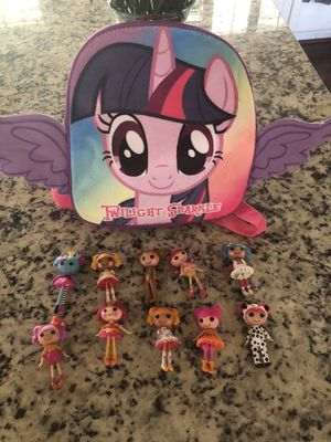 My Little Pony back pack and mini LaLa Loopsy figures/dolls bundle for Sale in Glendale, AZ