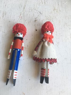 Raggedy Ann and Andy vintage clothes pin Christmas ornaments for Sale in Dallas, TX