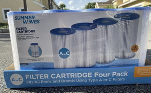 Summer Waves/Polygroup Type A or C Filter Cartridges for Swimming Pools - 4 pack for Sale in Atlanta, GA