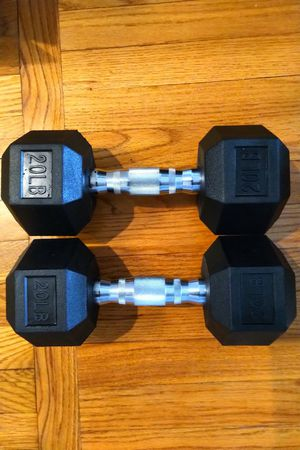 Rubber Encased Hex Hand Dumbbell Weight 20 lbs set for Sale in Boston, MA