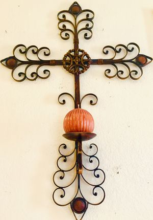 Beautiful wrought iron large Cross candle holder H35xW25xD5 inch for Sale in Chandler, AZ