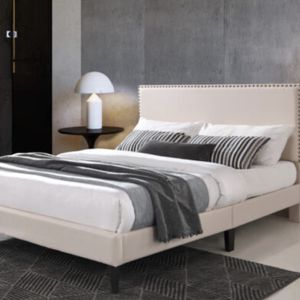 BEAUTIFUL CF9078 QUEEN LIGHT BROWN PLATFORM UPHOLSTERY BED. ADD ON PLUSH NIGHTSBRIDGE 15' QUEEN PILLOWTOP MATTRESS AND FOUNDATION $899. for Sale in St. Petersburg, FL
