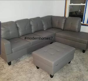 Grey leather sectional sofa with ottoman for Sale in Buena Park, CA