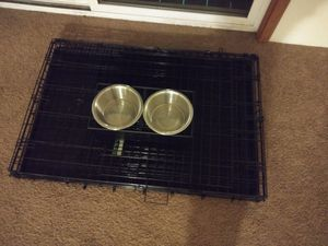 Dog dishes and large kennel for Sale in Hopkinsville, KY
