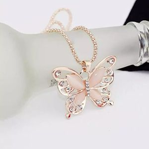 Flawless Women Lady Necklace Choker Pendientes Rose Gold Opal Butterfly Pendant Exquisite Necklace Sweater Chain Oorbellen for Sale in Brooklyn, NY