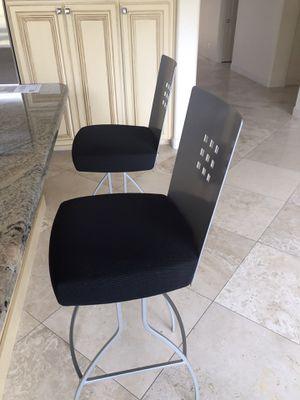 "2 metal swivel bar stools $ 155.00 (30"" high - charcoal black cushions- ) for Sale in Phoenix, AZ"