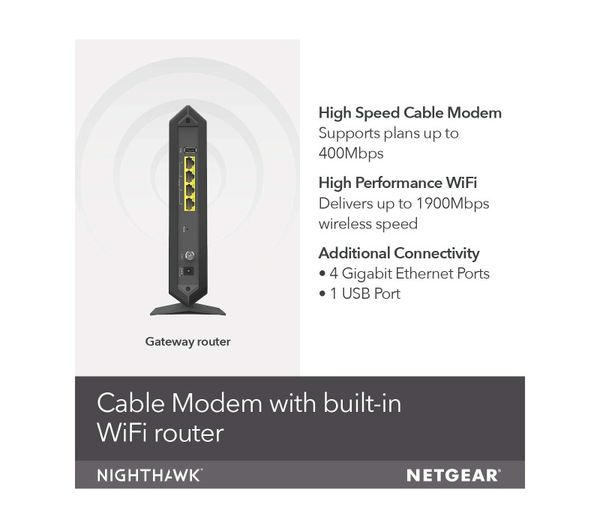 Netgear Nighthawk®DOCSIS®3.0 Two-in-one Cable Modem +WiFi Router
