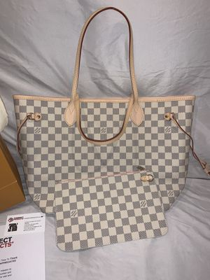 Brand New LOUIS VUITTON NeverFull MM Damier Azur Canvas Handbag N41361 (NOW available for Shipment Worldwide & Meetup in NY) for Sale in Queens, NY
