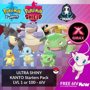 Pokemon Sword & Shield Shiny Gmax 6 IV Bundle: Kanto Starters for Sale in El Paso, TX