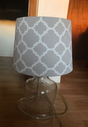 Lamp White and light grey pattern, glass base for Sale in Hoboken, NJ