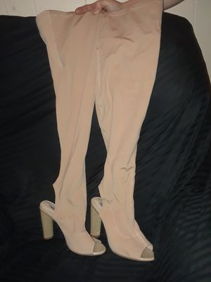 Woman's tan open toe thigh high boots for Sale in Layton, UT