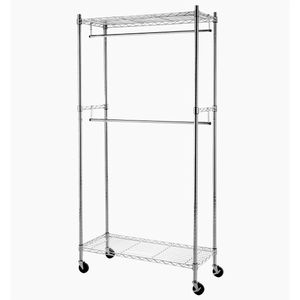 Double Hanging Rod Garment Rolling Closet Organizer Rack for Sale in Phoenix, AZ