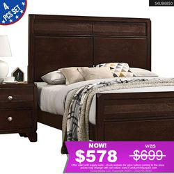 *ENDING SOON* 4pcs Queen Bedroom Set Bed + Dresser + Mirror + Nightstand B6850 for Sale in Rancho Cucamonga,  CA