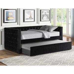 GLAM BLACK VELVET TWIN SIZE DAY BED + TRUNDLE / CAMA SENCILLA NEGRO for Sale in Riverside, CA
