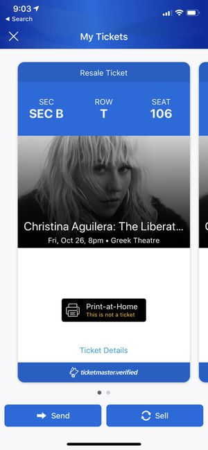 Christina Aguilera Liberation Tour Ticket Greek Theater for Sale in San Diego, CA