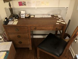 Brown wood desk for Sale in Greenwich, CT