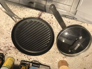 Cooking pans - small wok and grilling pan and lid for Sale in Westminster, CO