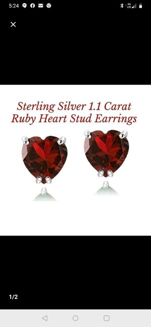 Red ruby heart-shaped 1.1 karat earrings in sterling silver setting for Sale in Tacoma, WA