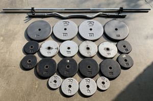 Adjustable Weight Workout Set w/ 2 Bars & 215lbs Total for Sale in Clackamas, OR