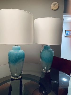 SET OF TWO BEAUTIFUL GLASS LAMPS. for Sale in Weston, FL
