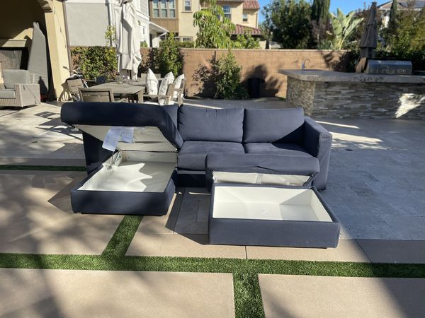 Dark Blue Sectional Couch With Ottoman Storage, FREE DELIVERY !