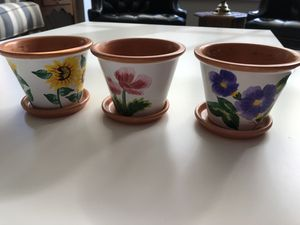 3 painted clay flower pots for Sale in Arlington, VA