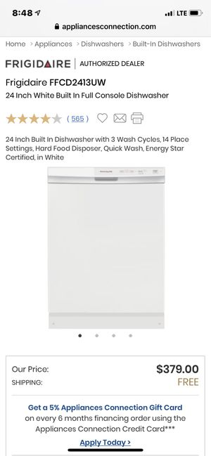 NEW! Frigidaire FFCD2413UW White dishwasher w/slim top console (includes install kit $29 value) - Sells for $379+ for Sale in Hayward, CA