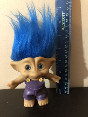"""6"""" Vintage Ace Novelty Trolls-Blue Hair-Purple Overalls-Toys-Kids-Dolls-Russ-Collectibles-Antiques- for Sale in Orland Hills, IL"""