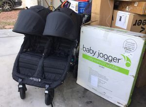 Baby jogger city mini GT double stroller black with all terrain tires & quick fold great condition slight used missing knock on left handle othe for Sale in Las Vegas, NV