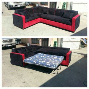 NEW 7X9FT BLACK MICROFIBER SECTIONAL WITH SLEEPER COUCHES for Sale in Victorville, CA