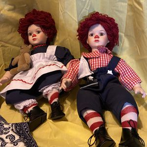 Raggedy Ann & Ann Porcelain Dolls for Sale in Hacienda Heights, CA