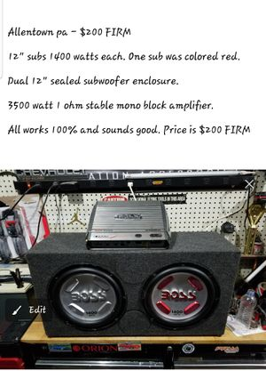 2 subs and amp for Sale in Allentown, PA