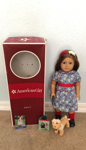 American Girl Doll Emily (Retired) + Emily's Dog, Box & Trading Cards for Sale in Walnut Creek, CA