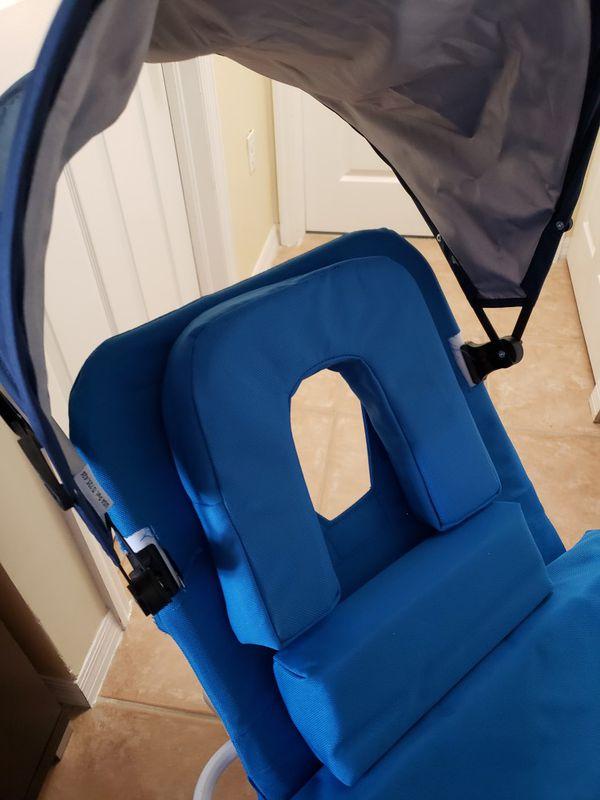 Beach Chair Lounger with Sun Shade