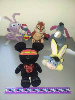 DISNEY PLUSH LOT - EEYORE - MONSTER MICKEY - DALE - DOT FROM BUG'S LIFE for Sale in Temecula, CA