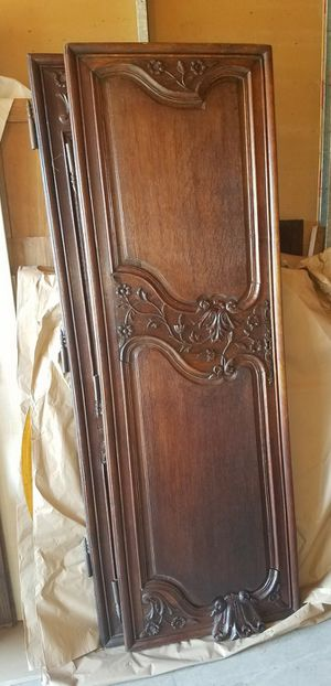 Antique Walnut Armoire with hand carved flowers for Sale in Long Beach, CA