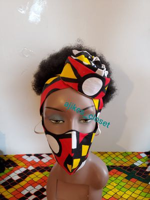 African print face mask with matching scarf for Sale in Philadelphia, PA