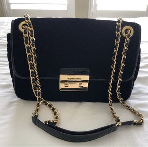 Michael Kors gold and black velvet bag for Sale in New York, NY
