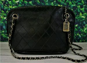 Authentic Vintage Chanel Black Lambskin Quilted Chain Shoulder Bag for Sale in Fort Mill, SC