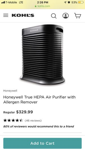 Honeywell True HEPA 465sq ft, Air Purifier/Allergen Remover for Sale in Los Angeles, CA