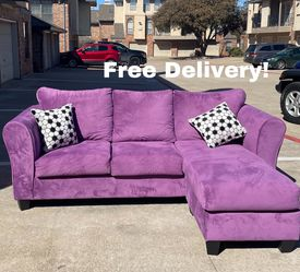 Pretty Purple Reversible Sectional- Free Delivery for Sale in Dallas,  TX